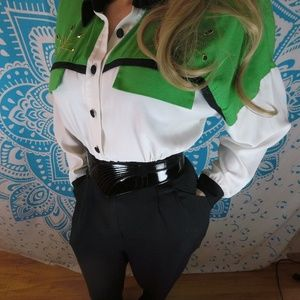 Vintage 80s Jumpsuit One Piece L XL Shoulder Pads